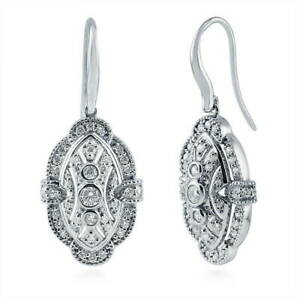 BERRICLE-Sterling-Silver-CZ-Vintage-Style-Milgrain-Fish-Hook-Wedding-Earrings