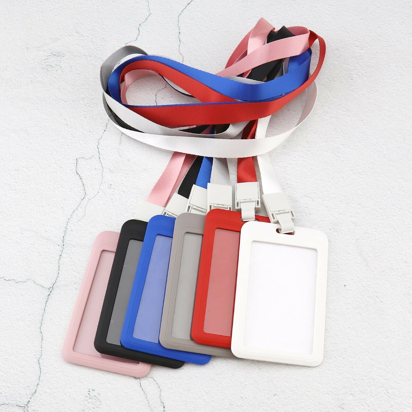 6x Vertical Name Tag Holder ID Card Pass Card Protecter PU Leather with Strap
