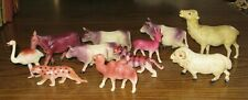 1940s  Antique Celluloid Toy Animals Hand Painted Lot of 11