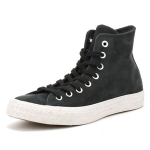 c1345c409fab Converse Mens Trainers Chuck Taylor All Star Black Nubuck Hi Tops ...