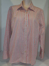 TOMMY HILFIGHER Womens Long Seeve Button Front Shirt Size 18 Orange Brown White