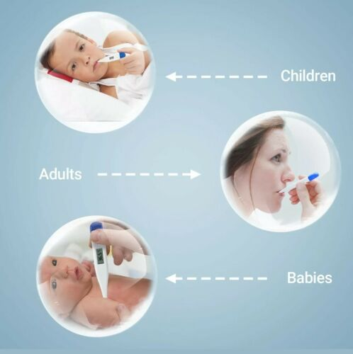 Digital Thermometer Medical LCD Audible Alarm Baby Adult Oral Ear Body Arm Fever