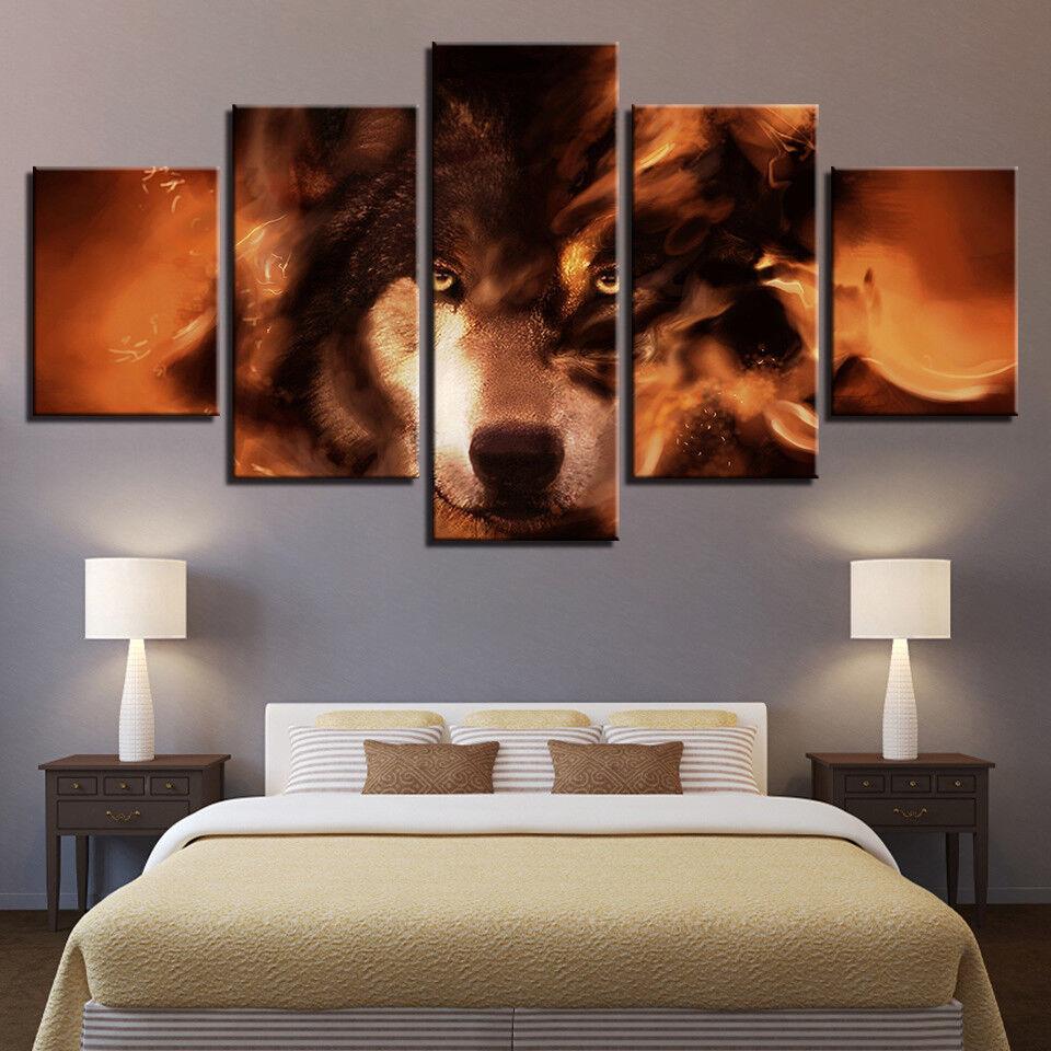 Wolf Spirit Animal Framed 5 Panel Canvas Print Wall Art
