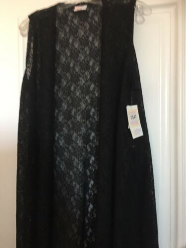 Medium Blomster Vest Sort Layering Noir Lularoe Joy M Solid Nwt Lace Cardigan rwOA0qr