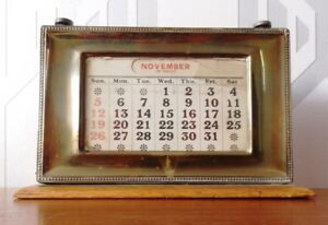 Vintage Brass And Wood Perpetual Desk Calendar 1930s