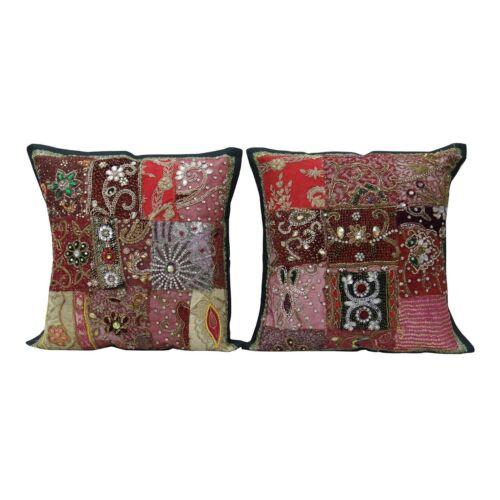 Indische Kissenbezug Perlen Bestickt 2 Pcs Home Decor Baumwolle Kissenhülle 16
