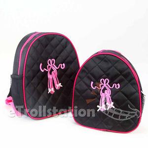 Lovely Girls Black Backpack Dance Bag Pink Ballet ShoesTap Quilted Dress S L NEW
