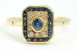 Diamant-Saphir-Goldring-750-18K-Gr-54-10-Brillanten-19-Saphire-zs-ca-0-30ct-VS-H