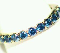 .68ct 14kt Gold Natural Blue Diamond White Vintage Wedding Engagement Band Ring