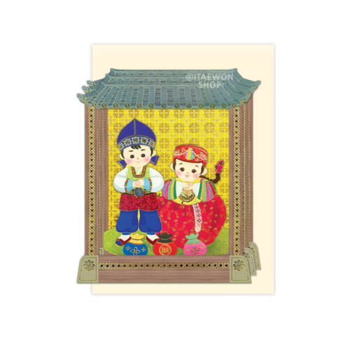 Korean Clothes Hanbok Card Hand Made Stand Up 3D Greeting Card Envelope Included
