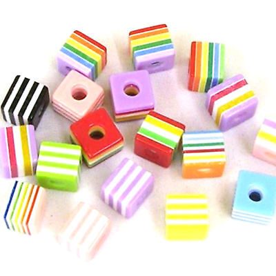 30 x Resin Beads Round 6mm Striped Mixed Colour