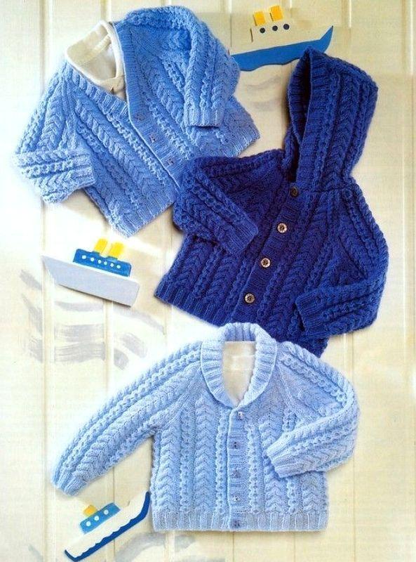 Baby Boys Girls Hooded Jacket Cardigan Hat KNITTING PATTERN DK 16-26in 5353