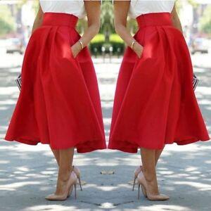 Vintage-Women-Stretch-High-Waist-Skater-Flared-Pleated-Swing-Long-Skirt-Dress