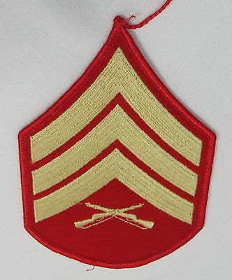 United States Military Marine Corps Sergeant E - 5 Patch Red & Gold