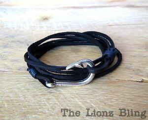 Urban Vintage Style Genuine Black Leather Bracelet W Silver Fish