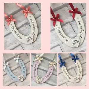 56e23cb7b31 Image is loading Personalised-Wedding-Horseshoe-Lucky-Keepsake-Bride-gift -good-