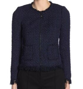 Rebecca Taylor NEW Fringe Trim Tweed Jacket Size 8 Purple Full Zip Blazer Womens