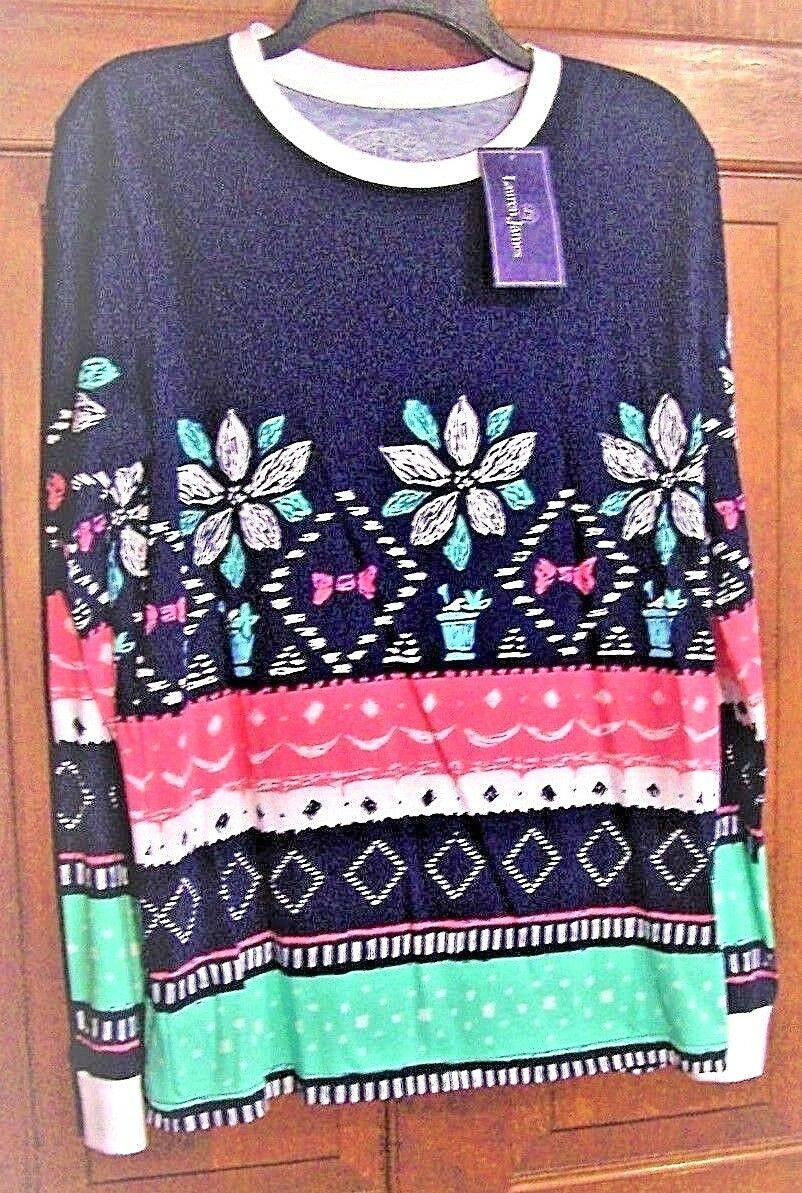 WOMENS MULTI colorD CHRISTMAS SWEATER TEE JULEP BY LAUREN JAMES SIZE SMALL