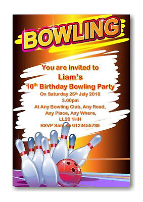 Invites B58 Girls or Boys 30 Personalised Bowling Birthday Party Invitations