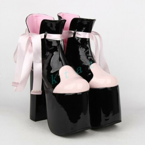 Womens Stitching Color Super High Heels Bowknot Platform High Top Boots Shoes