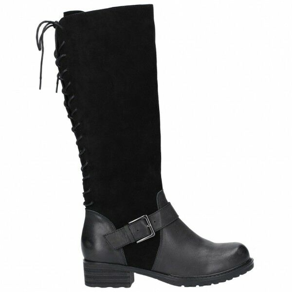 Hush Puppies POMERANIAN Ladies Womens Suede Leather Riding Tall Boots Black