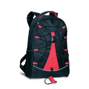 Zaino Trek Parti Colorate Red Black Poliestere Cordino Parte Frontale E Tasche