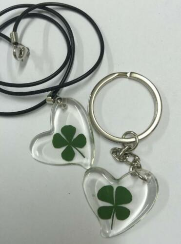2 PCS cool summer four leaf clover lucid heart pendant keychain NG