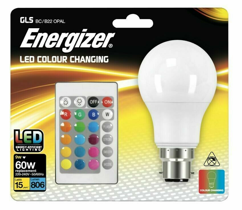 ENERGIZER COLOUR CHANGING B22 GLS LED RGB+W, WITH REMOTE CONTROL