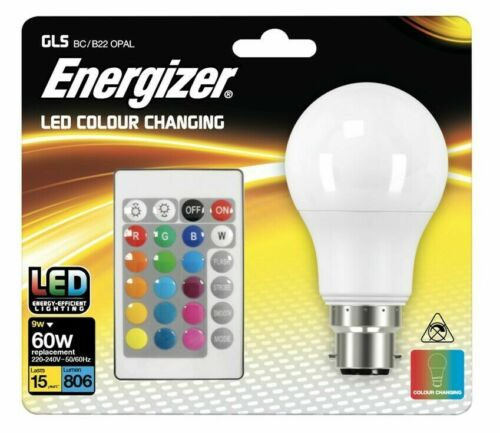 ENERGIZER COLOUR CHANGING B22 GLS LED RGB+W WITH REMOTE CONTROL