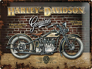 Harley-Davidson-Genuino-Pared-Ladrillo-Grande-Relieve-Acero-Signo