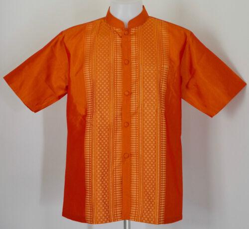Mens Traditional Thai Silk Shirt ~ Mandarin or Regular Collar ~ Short Sleeves