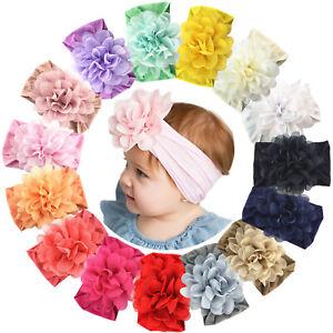 15pcs-Baby-Girls-Nylon-headbands-4-5in-Chiffon-Flower-for-infants-Toddler-Babies