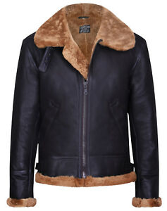 f83406697 Details about Men's Aviator Brown B3 Real Shearling Sheepskin Leather  Bomber Flying Jacket