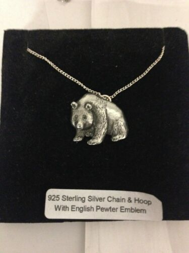 Panda R119 Emblem on a 925 Sterling Silver Necklace 16,18,20,26,30