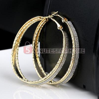 2PCS Women Stainless Steel Hoop Earrings Ear Stud Frosted Scrub  Fashion Jewelry