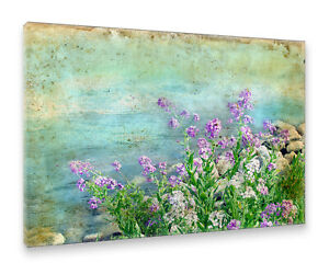 Postereck-Leinwand-0429-Blaue-Blumen-am-Ufer-Vintage-Natur-See-Fluss-Gemaelde