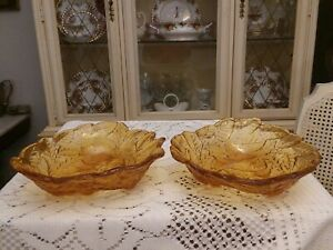 Matched-Set-Vintage-Indiana-Glass-Loganberry-Pattern-Amber-Triangular-Bowls