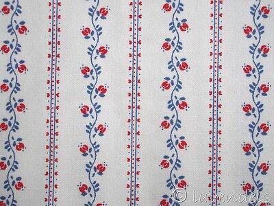 Dirndlstoff ♥ weiß blau rot Baumwolle Trachten Stoff Blümchen Schürze Ranken