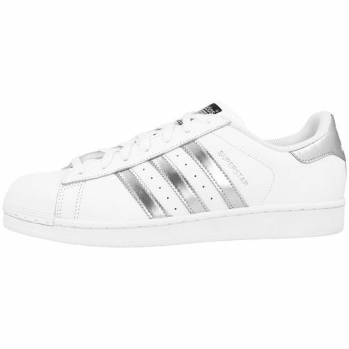 ADIDAS AQ3091 Superstar White Silver Leather trainers UK 9 EU 43 1/3