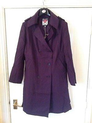 Colour Lee Cooper Trench Coat Purple M L Ladies Size