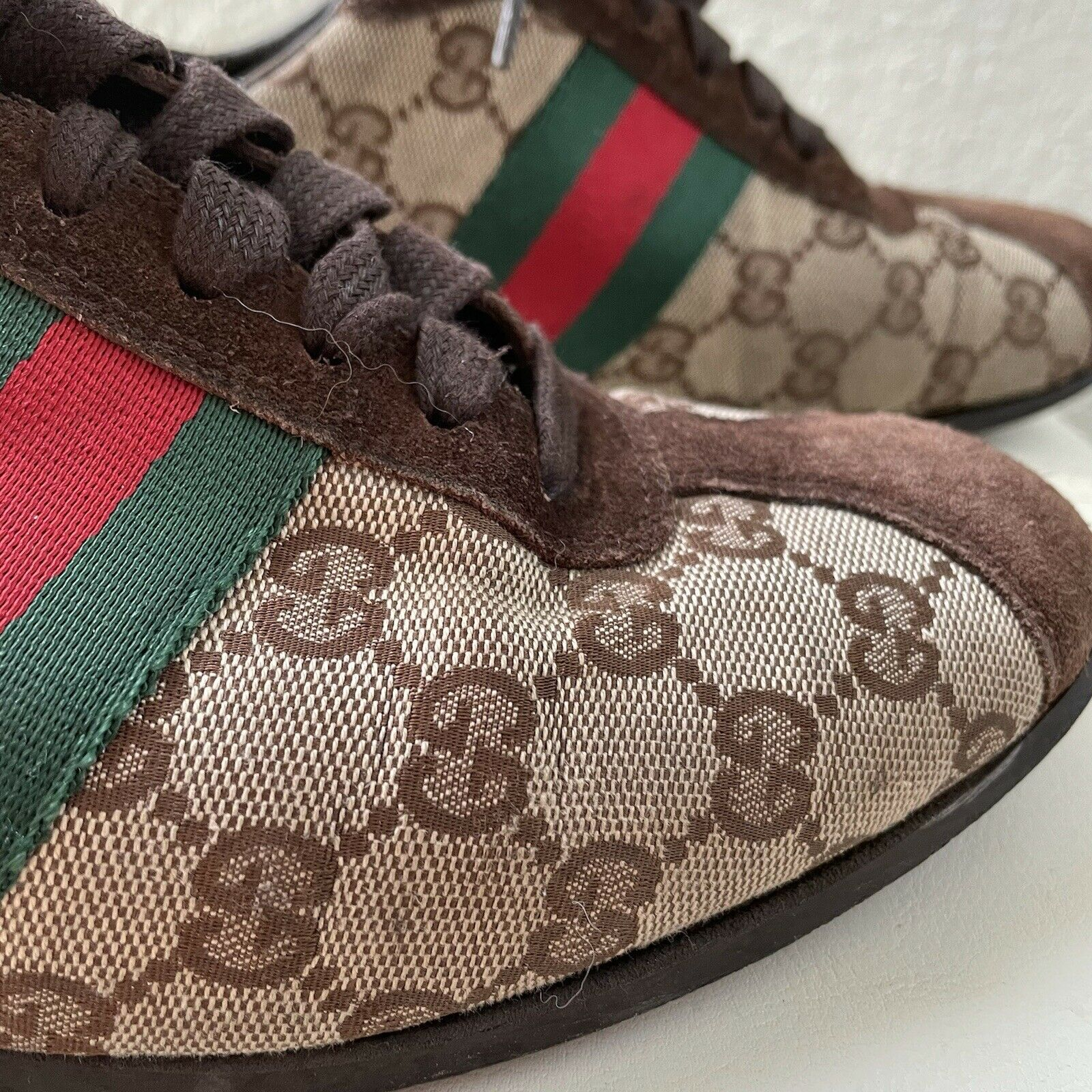 Vintage Classic Brown Green Red Gucci Logo Canvas… - image 5