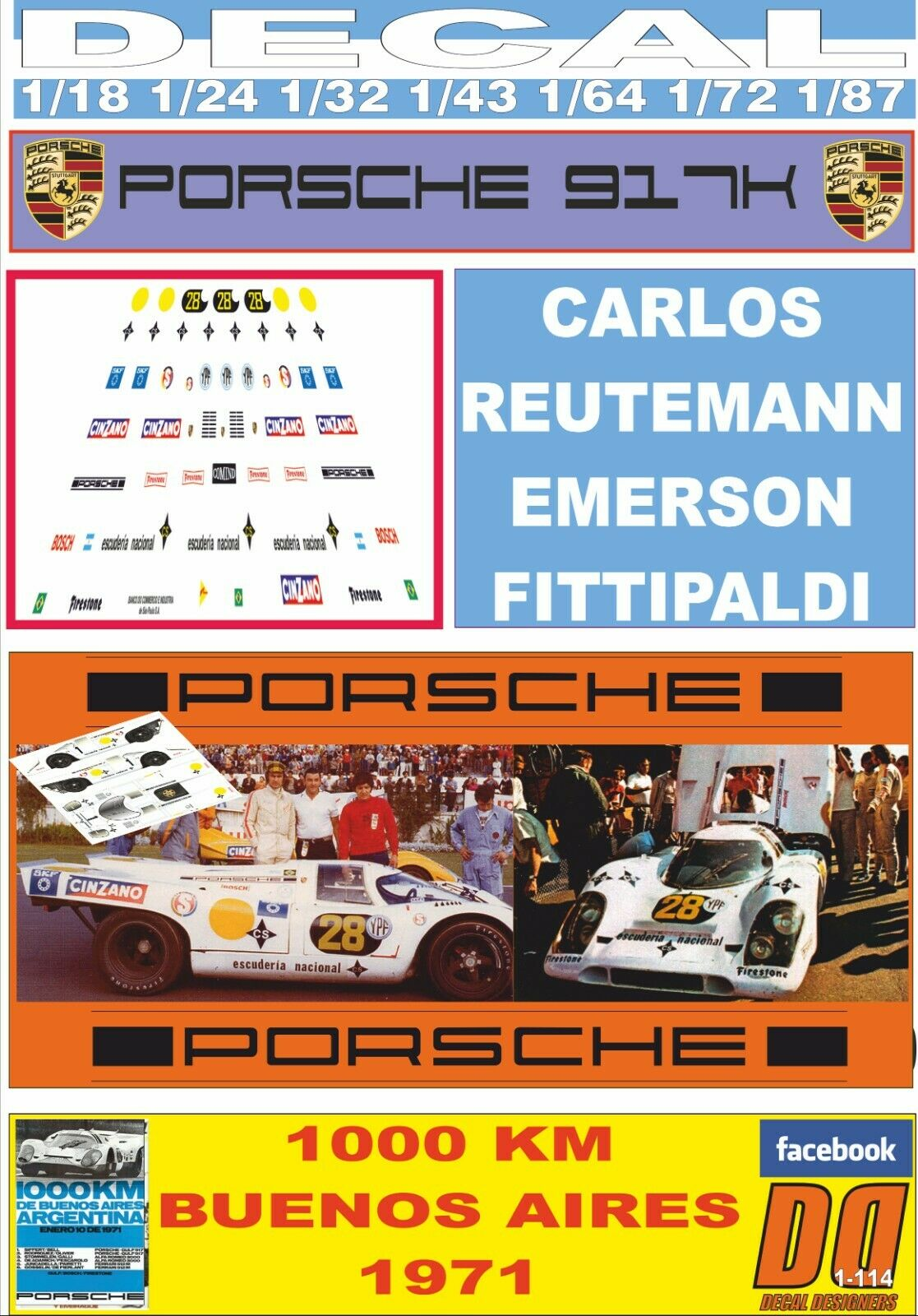 DECAL PORSCHE 917K REUTMANN -FITTIPALALDI 1000 KM BUENOS AIRES 1971 (03)
