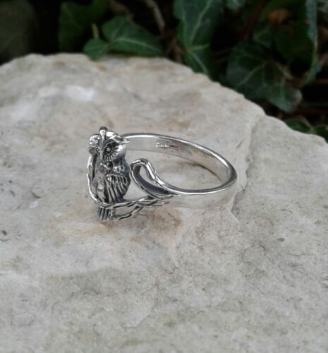 Owl Ring Owl Jewelry Solid Sterling Silver Owl Ring