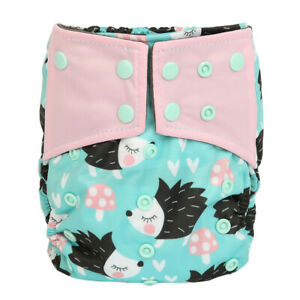 Baby-Cloth-Diaper-Nappy-Cover-Bamboo-Charcoal-Reusable-Gussets-Hedgehog-Girls