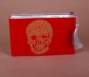Pochette-034-TETE-DE-MORT-034-Rouge-coquelicot-amp-strass-Jaune-skull-sac-pouch