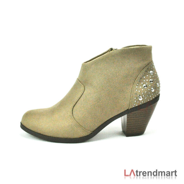 Women Western Pointy Toe Faux Suede Studded Ankle Bootie Soda Shoe Poco Lt Taupe