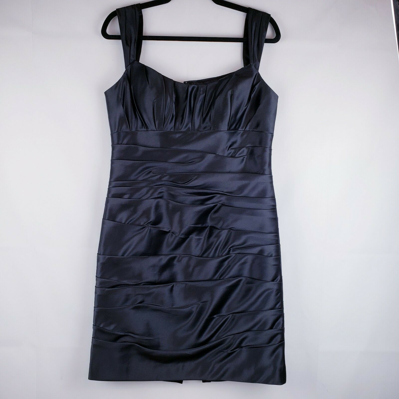 Bill Levkoff Black Formal Sexy Cocktail Dress Size 12 Shiny Pleated Rouched