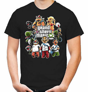 Mario-039-s-Gang-T-Shirt-Gamer-Super-Nintendo-GTA-SNES-Yoshi-1-Up-Fun
