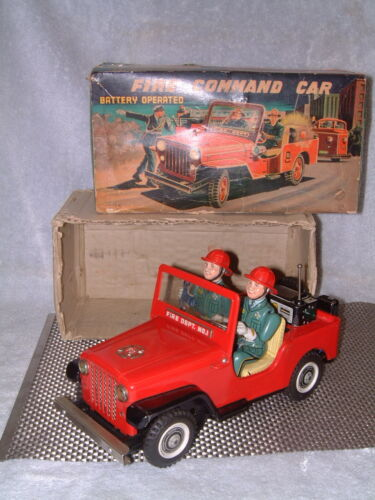 TIN B/O FIRE COMMAND JEEP NOMURA 100% FULLY OPERATIONAL W/ORIGINAL BOX!!