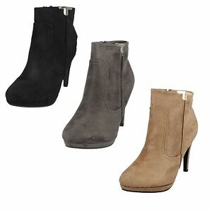 LADIES-WOMENS-SPOT-ON-ZIP-UP-STILETTO-HIGH-HEEL-CASUAL-ANKLE-BOOTS-F50679